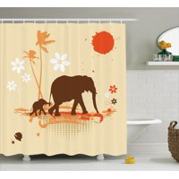 Elephants Decor  Mother And Baby Elephants In Tropical Lands Desert Illustration Of Safari Kids, Bathroom Accessories, 69W X 84L Inches Extra Long, By Ambesonne