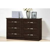 Baxton Studio Colburn Modern and Contemporary 6-Drawer Wood Storage Dresser, Dark Brown Finish