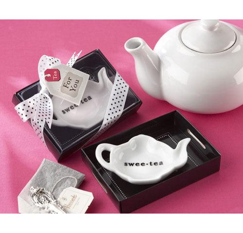 Kate Aspen ''Swee-Tea'' Ceramic Tea-Bag Caddy in Serving-Tray Gift Box (Set of 96)