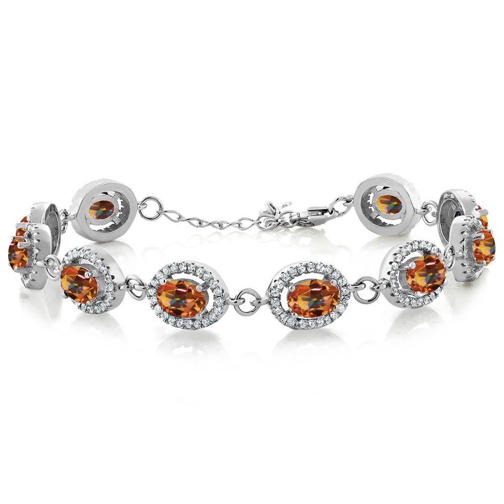 12.38 Ct Oval Ecstasy Mystic Topaz 925 Sterling Silver Bracelet by