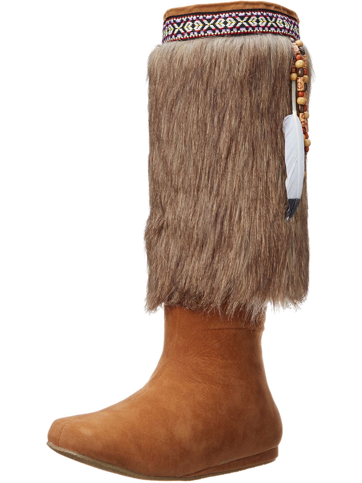 Womens Faux Fur Boots Tan Indian Tribal Boots Knee High Feathers 1 Inch Heels