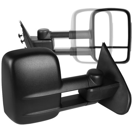 Spec-D Tuning For 2014-2018 Chevy Chevrolet Silverado Gmc Sierra Manual Extend Towing Side Mirrors (Left+Right) 2014 2015 2016 2017 2018 Chevy Silverado Towing Mirrors