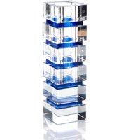 Vase JOHN-RICHARD Cobalt Blue Stripes Striped Lead-Free Glass New JR-1657