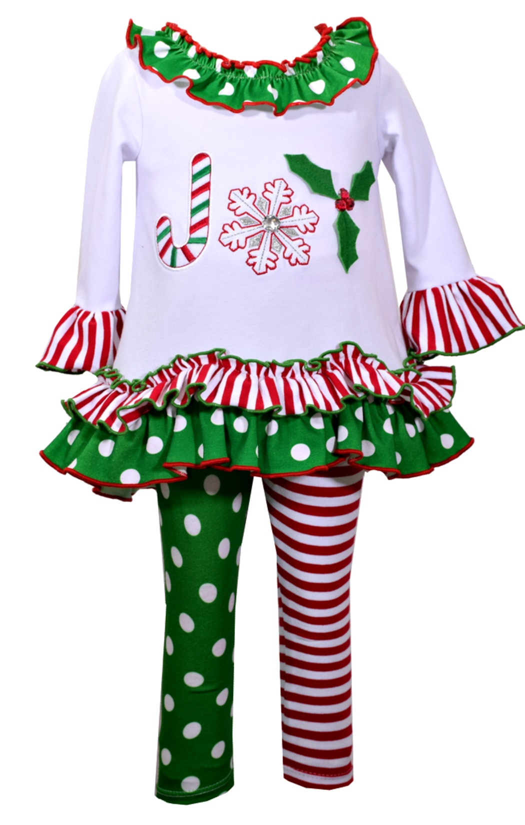 Toddler Girl Christmas Outfit 24 mos 2 Piece Dress Legging Red White Bonnie Jean