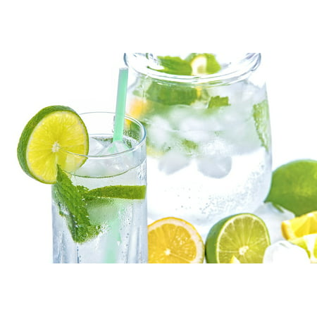 Canvas Print Mint Cold Drink Glass Ice Mineral Water Lime Stretched Canvas 10 x 14