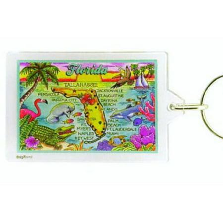 Florida Map Acrylic Rectangular Souvenir Keychain 2.5 inches X 1.5 inches - Blank Acrylic Keychains