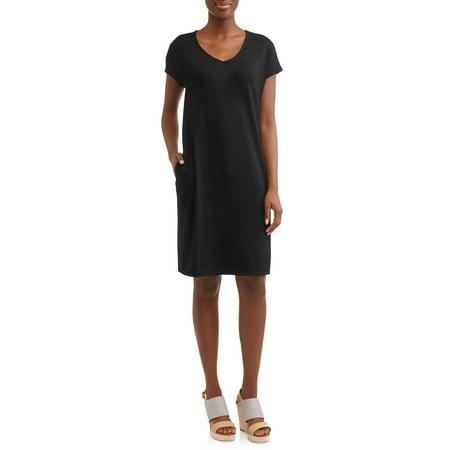 feb57d10c54d6 Time and Tru - Women's Hacci T-shirt Dress - Walmart.com
