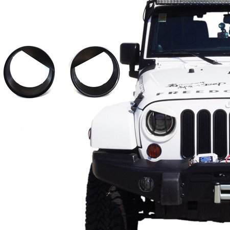 Xprite Black Angry Bird Style Headlight Bezels For 2007-2018 Jeep (Best Jeep Headlight Upgrade)