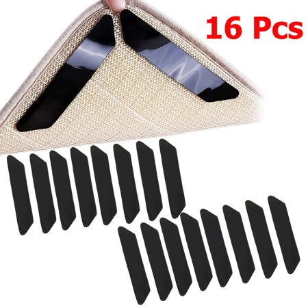EEEKit 16pcs Carpet Rug Grippers for Hardwood Floors, Carpet Tape Rug Gripper for Area Rugs Double Sided Anti Curling Non-Slip Washable and Reusable Pads for Tile Floors, Carpets, Floor Mats,