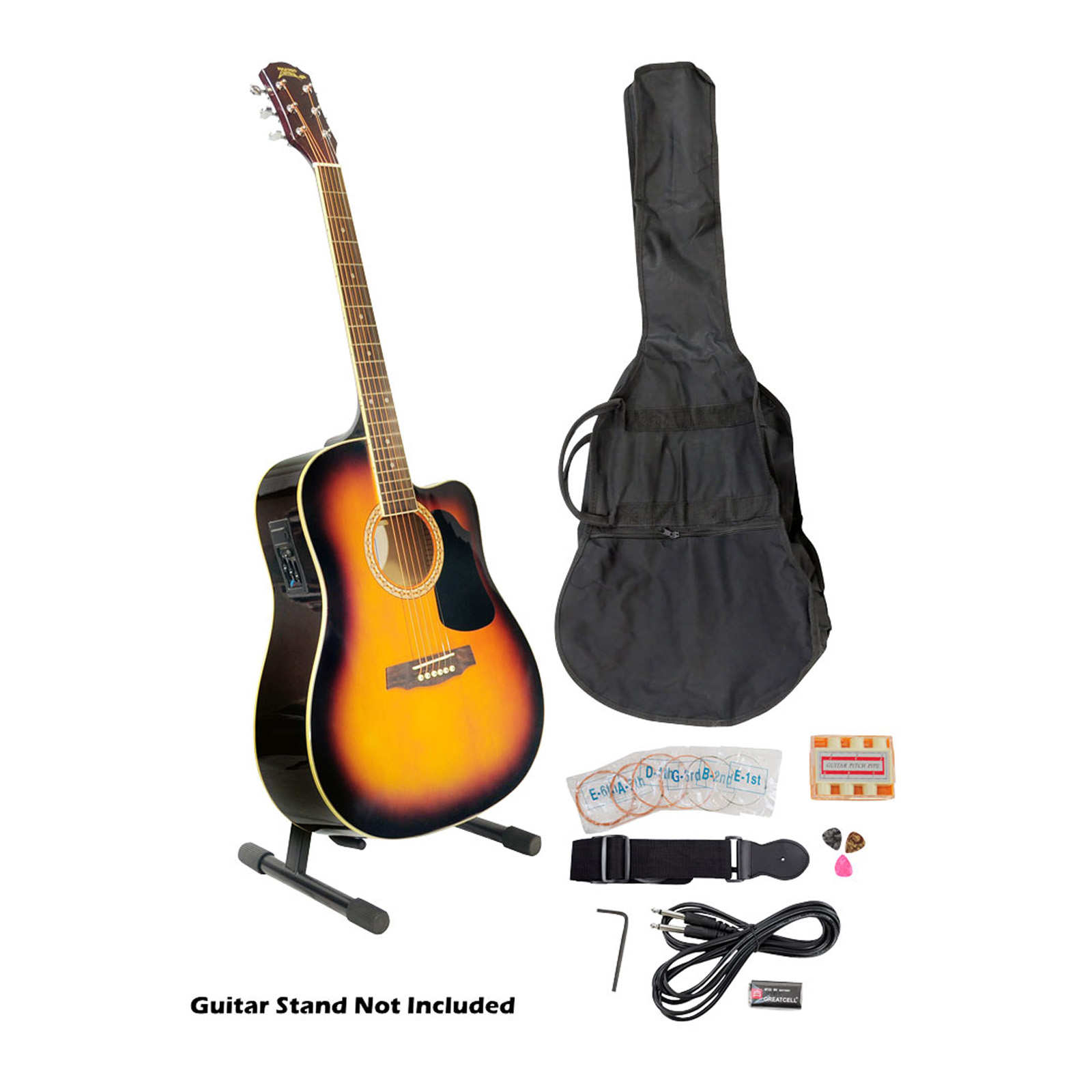41'' Acoustic-Electric Guitar Package With Gig Bag, Strap, Picks, Tuner, and Strings... by Supplier Generic