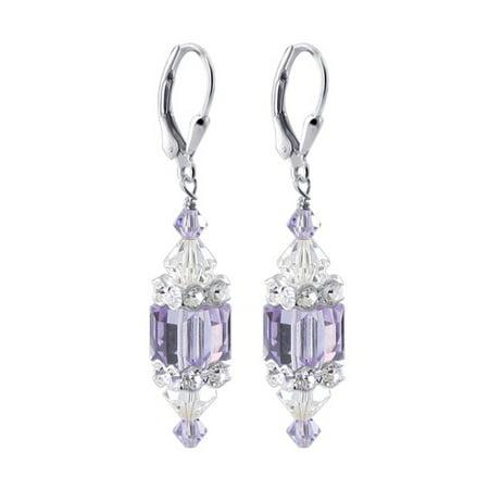 Gem Avenue Sterling Silver Swarovski Elements Purple Crystal Earrings