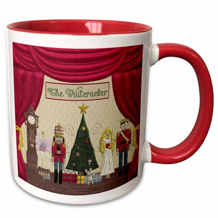 3dRose Nutcracker Prince, Sugar Plum Fairy, Mouse King, Snow Queen, Clock - Two Tone Red Mug, 15-ounce - Sugar Plum Fairy Dress