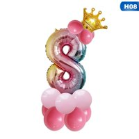 """KABOER US Stock 14pcs 32"""" Foil Birthday Balloons Rainbow Number Crown Pearl Balloon New"""
