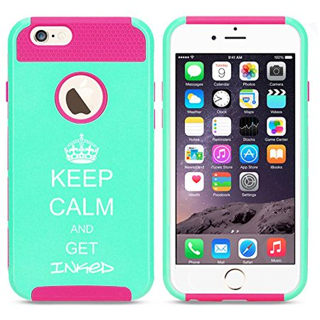 For Apple (iPhone 8) Shockproof Impact Hard Soft Case Cover Keep Calm And Get Inked Tattoo (Light Blue-Hot Pink) ()