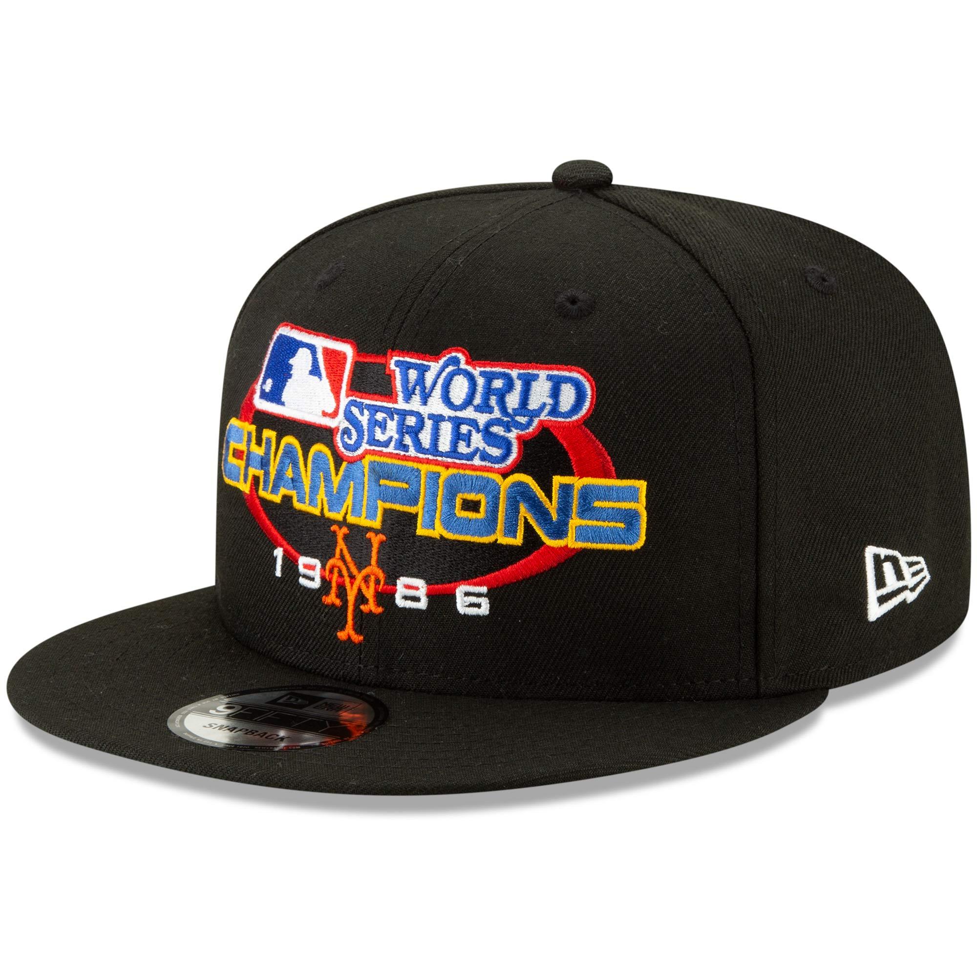 New York Mets New Era World Series Champions Flashback 9FIFTY Adjustable Snapback Hat - Black - OSFA