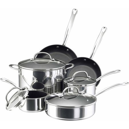Farberware Stainless Steel Classic Cookware - Farberware Millennium Stainless Steel Cookware 10-Piece Set, Stainless Steel