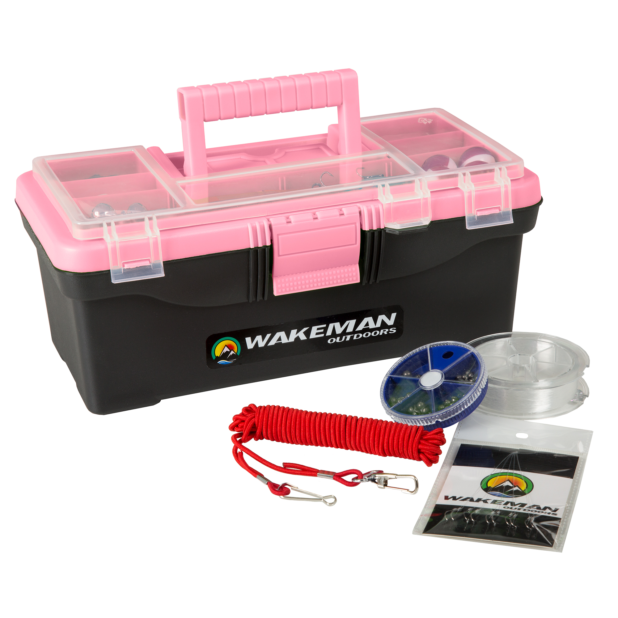 Fishing Single Tray Tackle Box- 55 Piece Tackle Gear Kit Includes Sinkers, Hooks Lures Bobbers Swivels and Fishing Line By Wakeman Outdoors (Pink)
