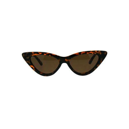 Womens Trendy Minimal Squared Cat Eye Mod Plastic Goth Sunglasses Tortoise (Tortoise Cat Eye Sunglasses)