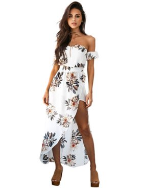 85bee376b6 Product Image Women Maxi Boho Floral Printed Beach Long Dress Irregular  Party Dress Split Dress