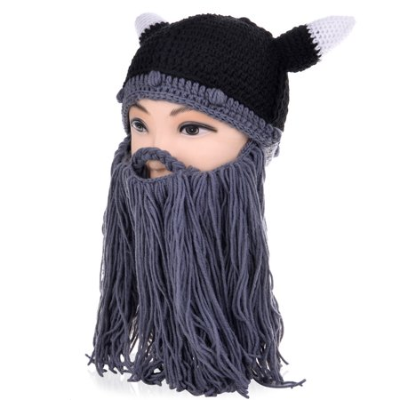 bd30c9cdc0e Allcaca - Men Knit Hat-Allcaca Men Knit Hat Viking Beard Mustache Hat Beanie  Ox s Horn Winter Men s Outdoor Cap - Walmart.com