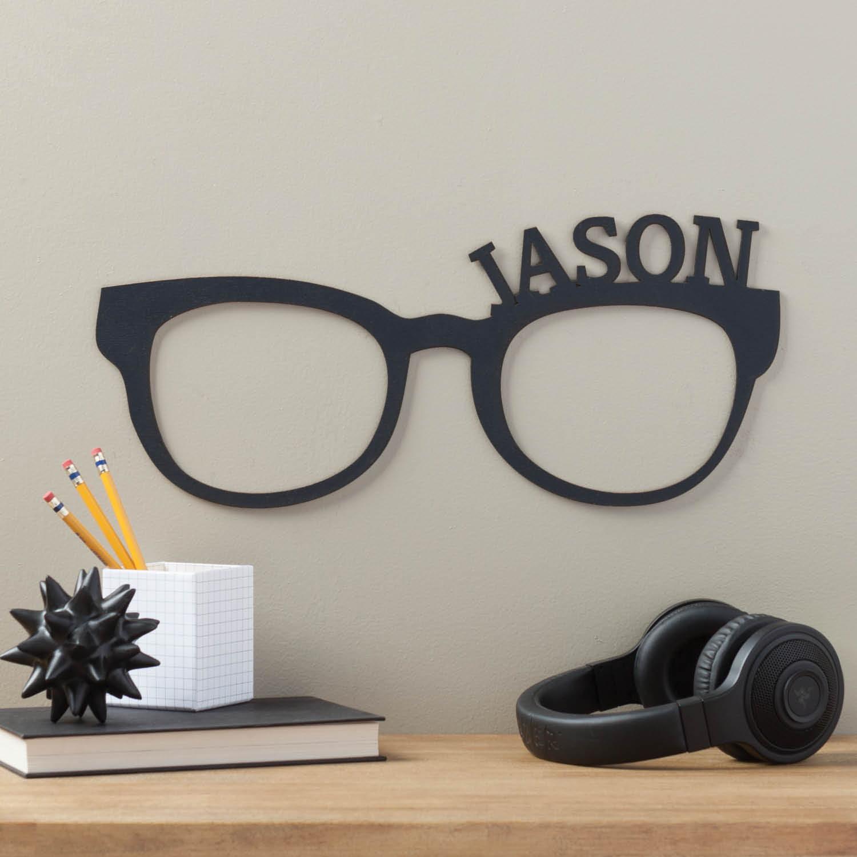 Personalized Black Glasses Wood Plaque