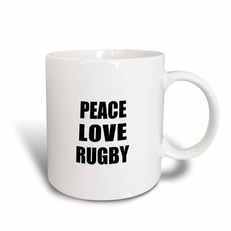 3dRose Peace Love and Rugby - Things that make me happy - Ruggers player gift, Ceramic Mug, 15-ounce