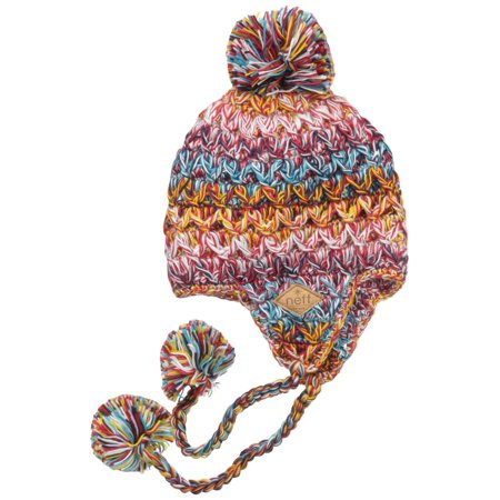 NEFF Women's Amy Cable-Knit Earflap Beanie with Pom