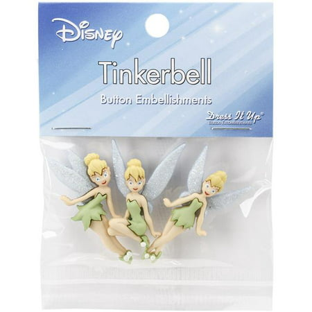 Dress It Up Disney Tinker Bell Button Embellishments, 6-Pack