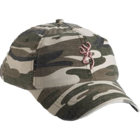Browning Woodland Camo Hat With Pink Buckmark