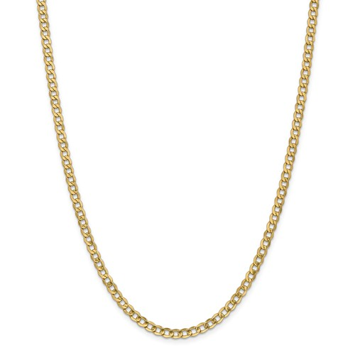 14k Yellow Gold 24in 4.3mm Lightweight Curb Link Necklace Chain by Jewelrypot