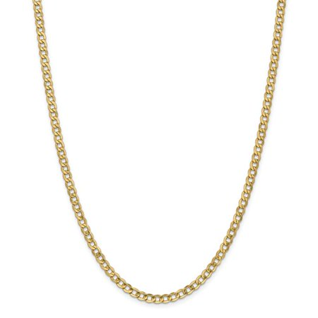 14K Yellow Gold 24In 4 3Mm Lightweight Curb Link Necklace Chain