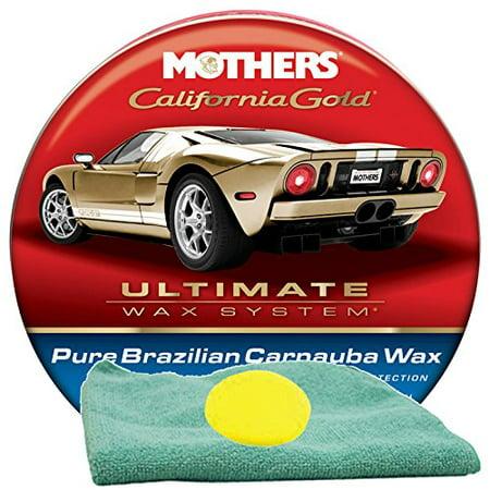 Mothers Cleaner Wax (Mothers California Gold Brazilian Carnauba Cleaner Wax (12 oz.) Bundle with Microfiber Cloth & Foam Pad (3)