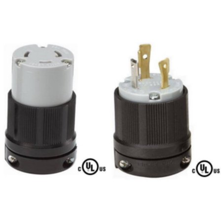 NEMA L5-30 Plug and Connector Set - Rated for 30A, 125V, 3-Wire, 2 Pole - cUL Listed