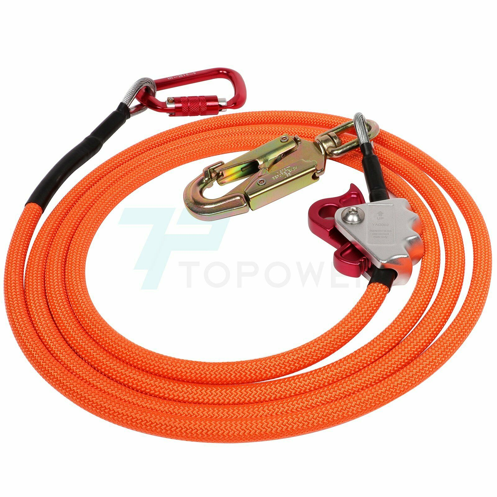 Cut Resistant 4YANG Steel Wire Core Flip Line Kits Low Stretch Flipline with Triple Lock Carabiner Adjuster for Fall Protection 1//2x8ft Adjustable Lanyard Tree Climbers Arborist