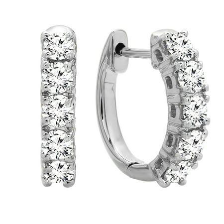 0.50 Carat (ctw) 10K Gold Real Round Cut White Diamond Ladies Huggies Hoop Earrings 1/2 CT