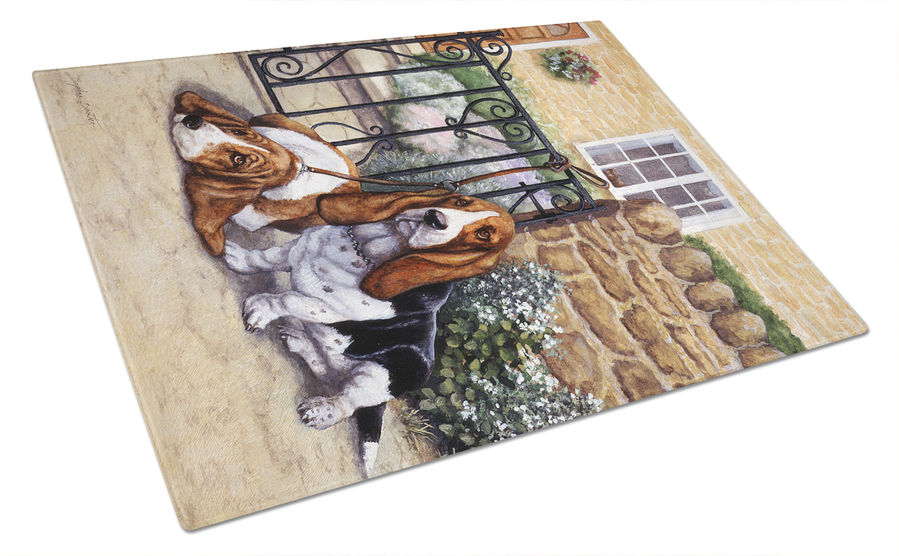Basset Hound at the gate Glass Cutting Board Large by Caroline's Treasures