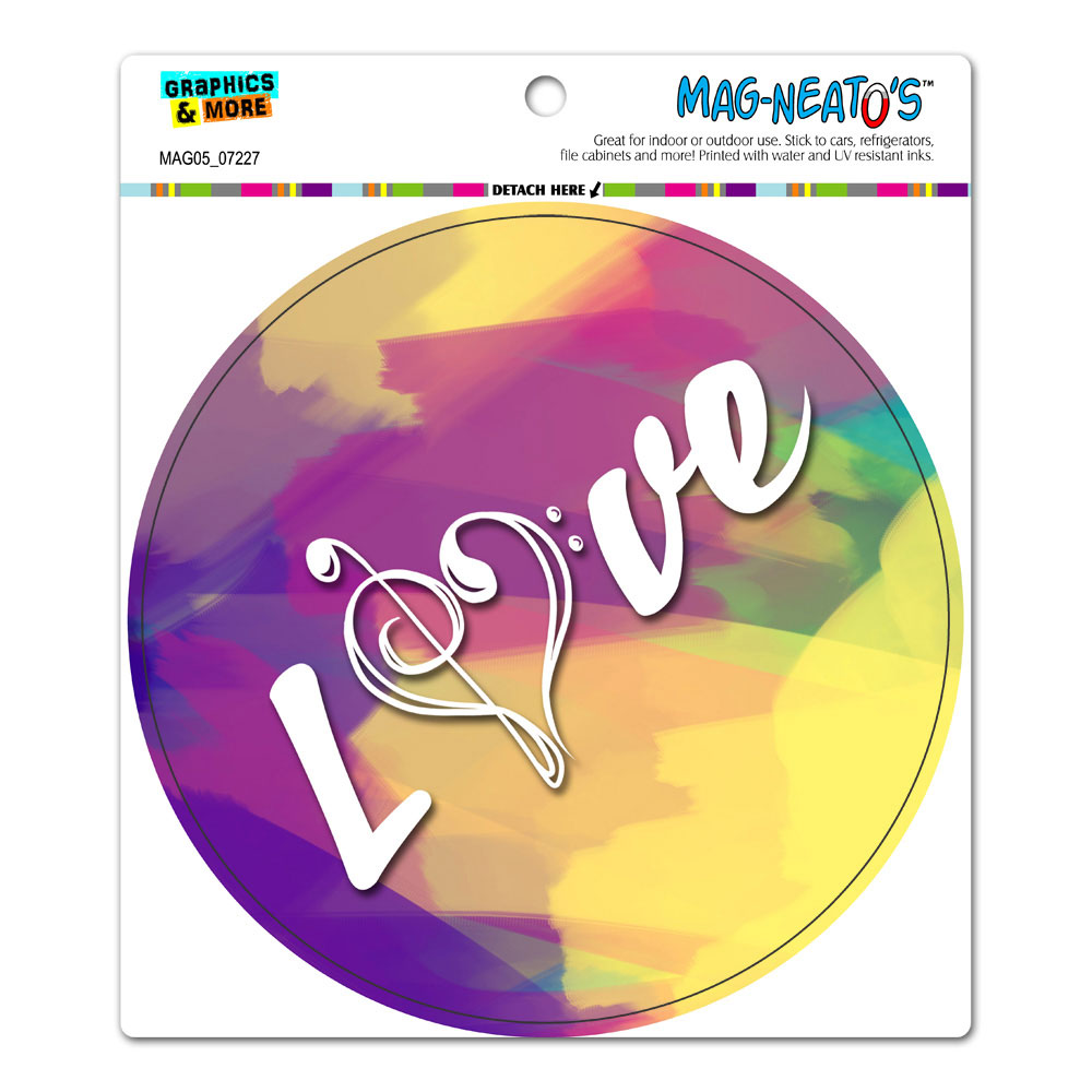 Love Music Treble Bass Clef Heart - Pink Yellow Circle MAG-NEATO'S(TM) Car/Refrigerator Magnet