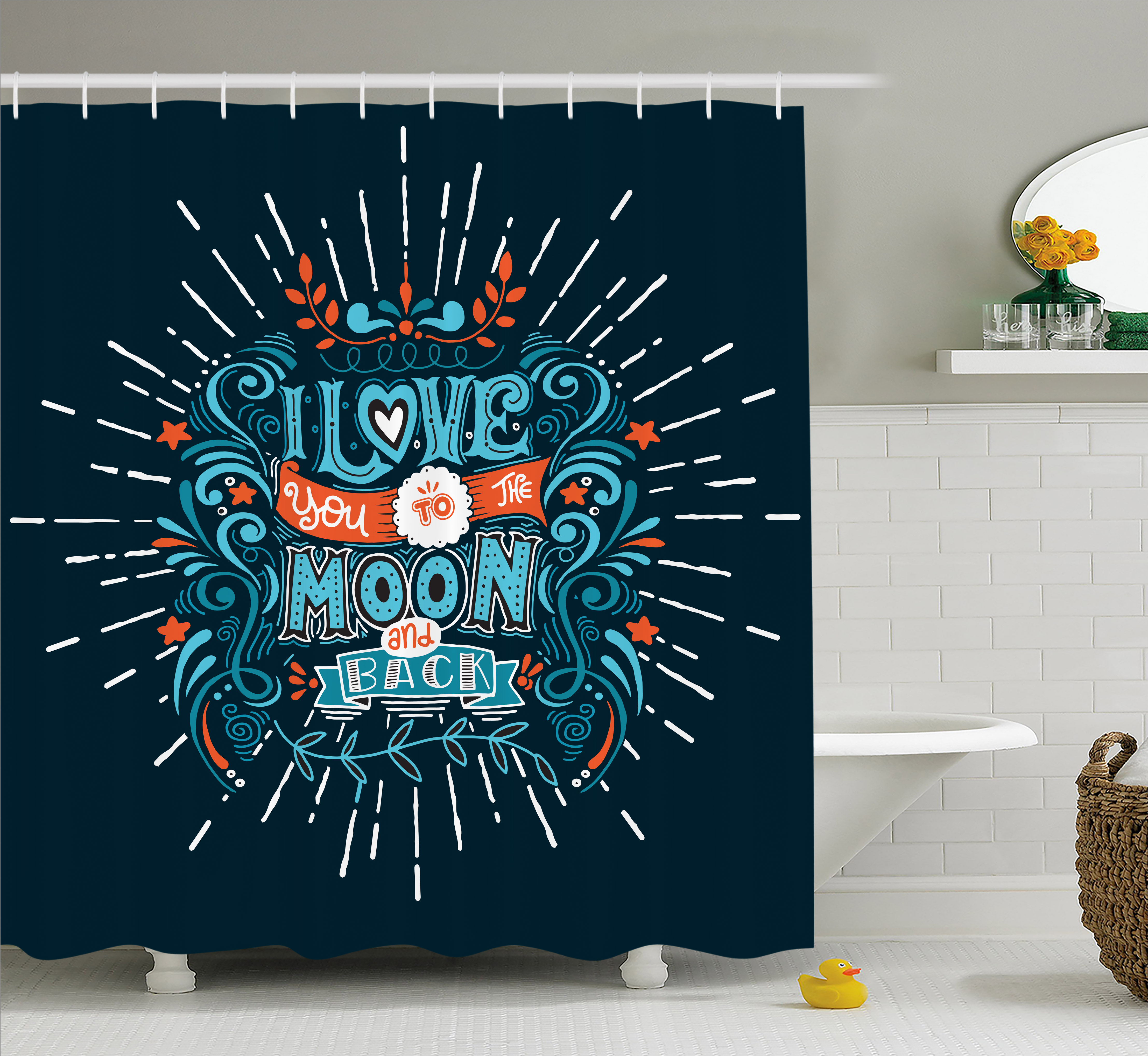 I Love You Shower Curtain, Ethnic Stylized Amusement Swirls Floral Bloom Branches Attraction Friends, Fabric Bathroom Set with Hooks, 69W X 70L Inches, Blue Red White, by Ambesonne