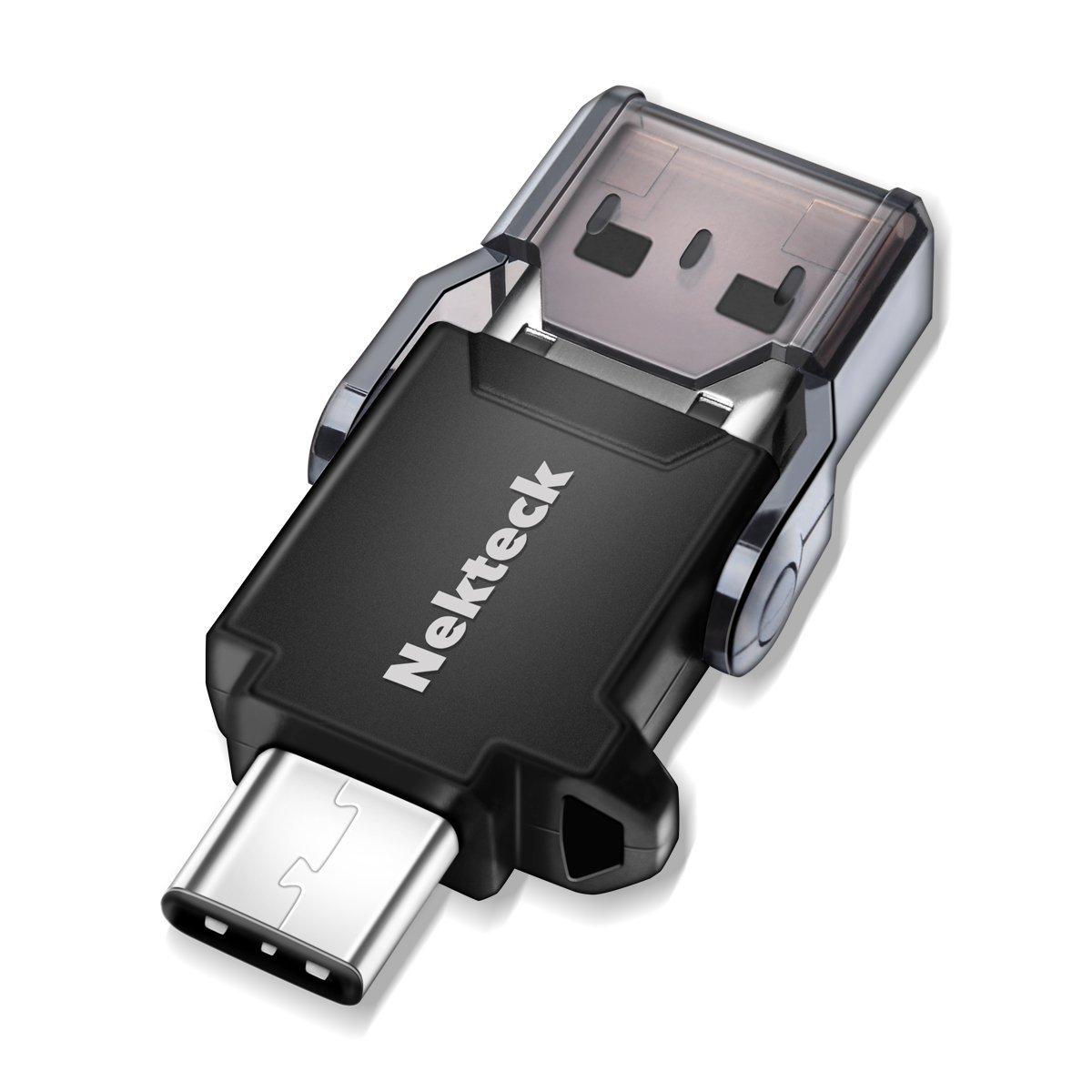 Nekteck USB Type C OTG Micro SD Card Reader with Additional Standard USB Port Connector (SD Card is NOT included)