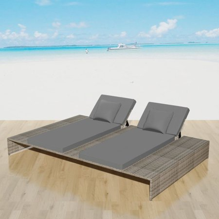Outdoor Double Chaise Lounger with 2 Cushion and 2 Pillows Adjustable Daybed, Lounge Bed Garden or Patio Poly Rattan ()