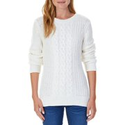 Nautica Womens Triple Cable Knit Tunic Sweater (Marshmallow, XX-Large)