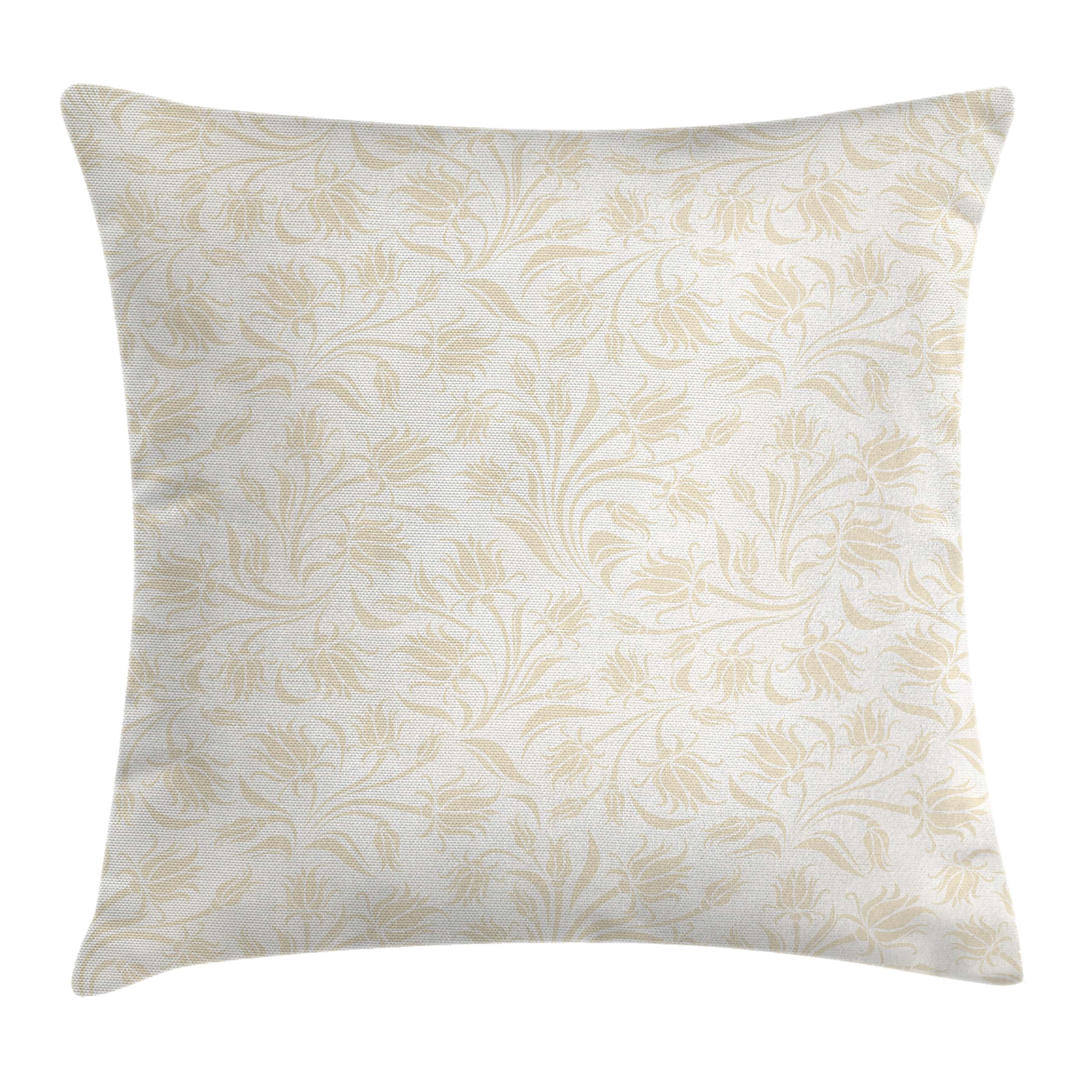 Ivory Throw Pillow Cushion Cover, Baroque Elegance Curved Leaves Floral Blooms Artistic Nature Beauty Kitsch Elegance Motif, Decorative Square Accent Pillow Case, 18 X 18 Inches, Cream, by Ambesonne