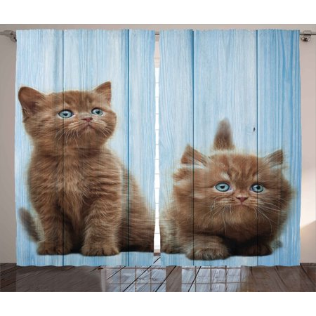 Animal Decor Curtains 2 Panels Set, Baby Kitten Siblings Lovely Animals Creatures Best Friend Artwork Print, Window Drapes for Living Room Bedroom, 108W X 84L Inches, Caramel Sky Blue, by