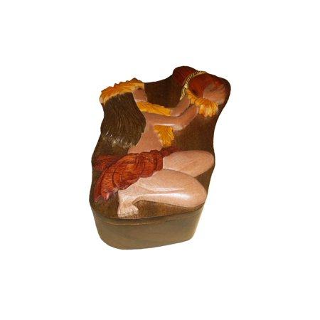 Hawaiian Jewelry - Hawaiian Style Wood Keepsake Jewelry Puzzle Box Hula Girl With Ipu
