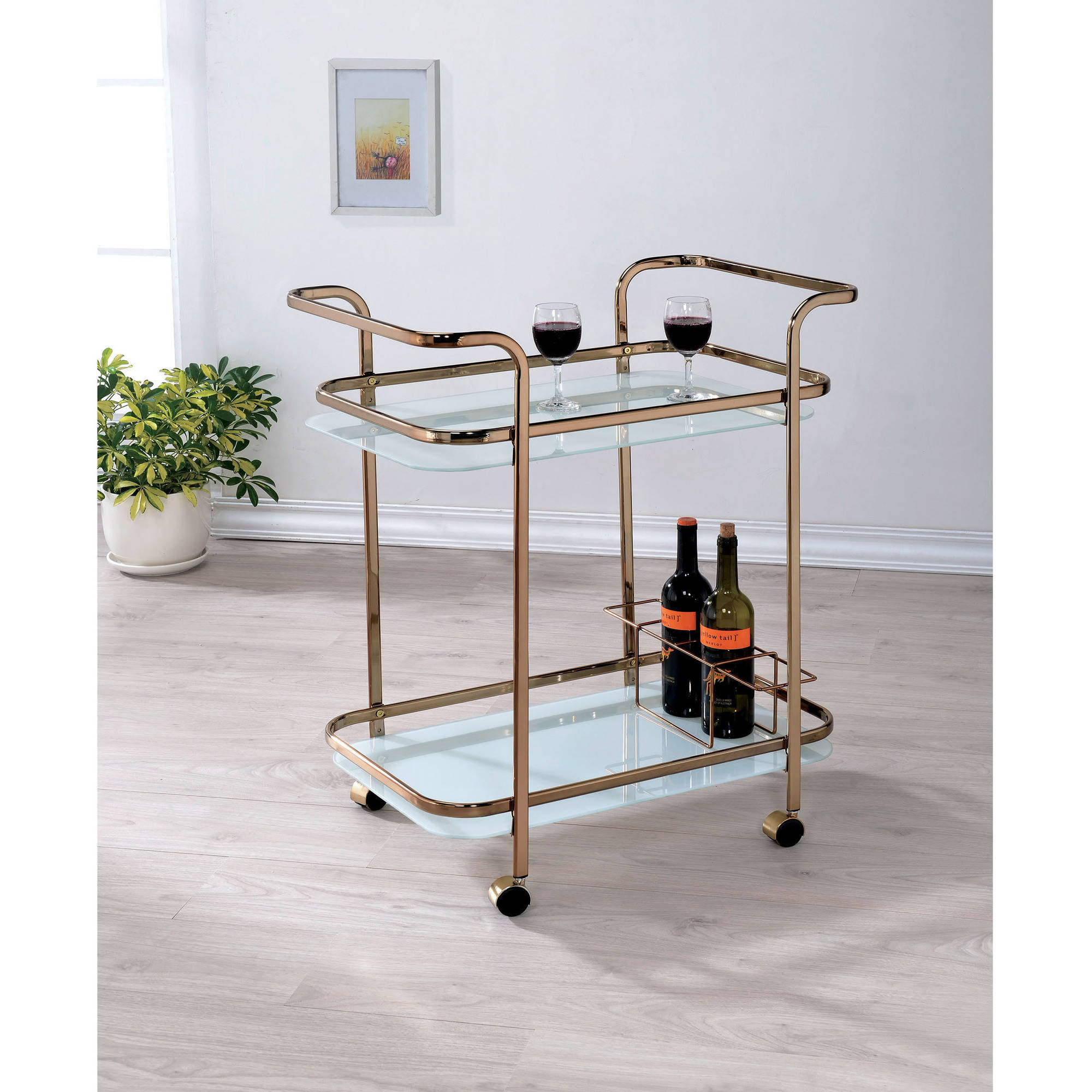 Furniture of America Loike Modern 2-Shelf Serving Cart, Champagne