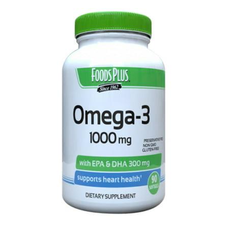 Super Dha Gems (Foods plus Super Omega 3 1000mg With EPA Plus DHA - 90 Ea, 2 Pack )