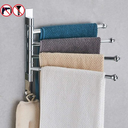 Besy Bathroom Swing Arm Towel Bars 4 Arm Wall Mount Swing Out Towel Rack Self Adhesive Stainless