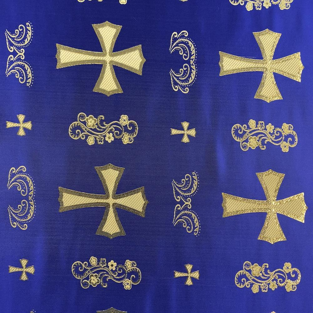 "Metallic Clerical Church Cross Brocade Fabric 60"" Wide 100% Polyester Sold By The Yard Many Colors (White / Silver)"