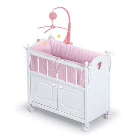 Badger Basket Gingham Doll Crib with Cabinet, Bedding, Mobile and Wheels - White/Pink - Fits American Girl, My Life As & Most 18