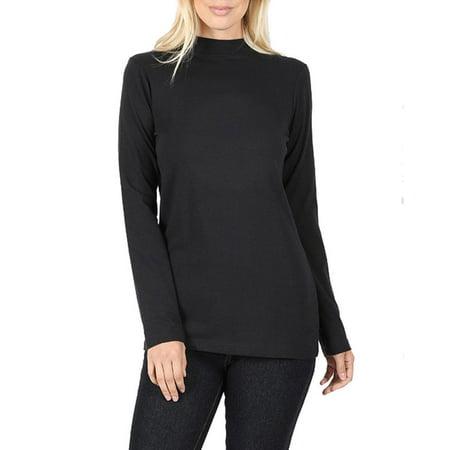 Womens Long Sleeve Cotton Mock Neck Turtleneck Top Mock Neck Tunic Top
